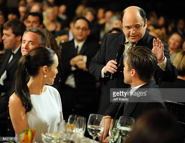 Actors Angelina Jolie Brad Pitt and Jason Alexander onstage during VH1's 14th Annual Critics' Choice Awards held at the Santa Monica Civic Auditorium...