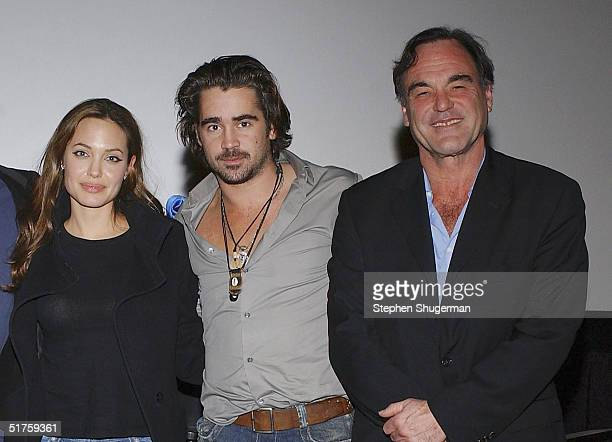 Actors Angelina Jolie Colin Farrell and Director Oliver Stone pose after the Q A which followed the Variety Screening Series 'Alexander' at the...