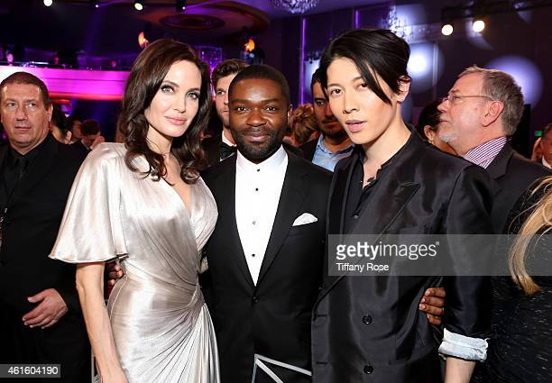 Actors Angelina Jolie David Oyelowo and Miyavi attend the 20th annual Critics' Choice Movie Awards at the Hollywood Palladium on January 15 2015 in...