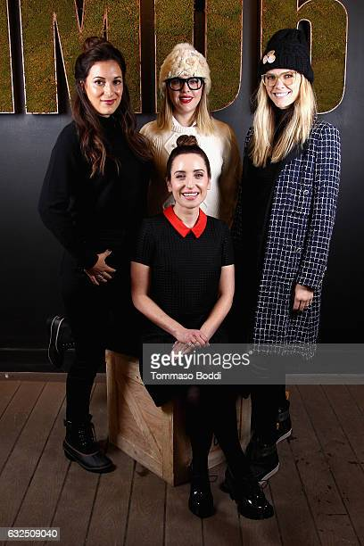 Actors Angelique Cabral Majandra Delfino and Brooklyn Decker film maker Zoe ListerJones of 'Band Aid' attend The IMDb Studio featuring the Filmmaker...