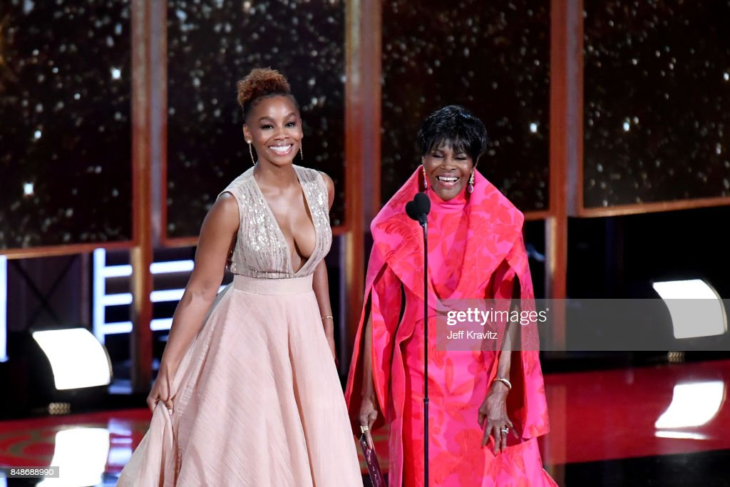 Actors Anika Noni Rose (L) and Cicely Tyson speak onstage during the 69th Annual Primetime Emmy Awards at Microsoft Theater on September 17, 2017 in Los Angeles, California.