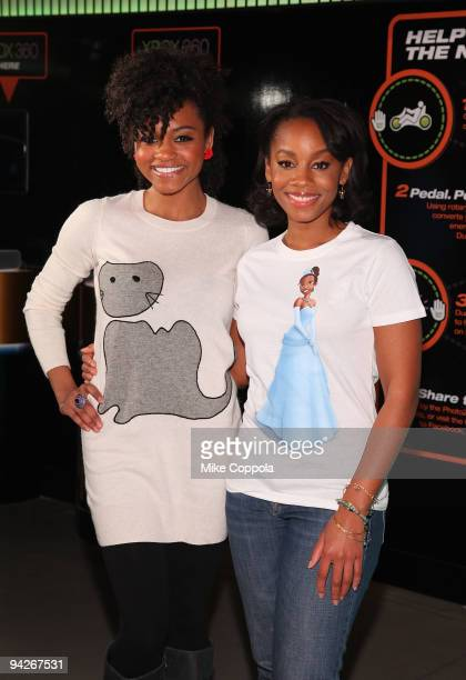 Actors Anika NoniRose and Syesha Mercado visit the Duracell Smart Power Lab in Times Square on December 10 2009 in New York City