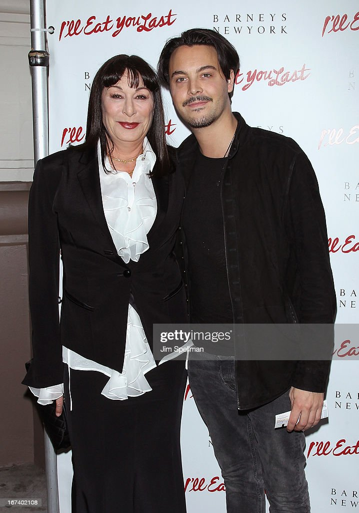 Actors <a gi-track='captionPersonalityLinkClicked' href=/galleries/search?phrase=Anjelica+Huston&family=editorial&specificpeople=202921 ng-click='$event.stopPropagation()'>Anjelica Huston</a> and <a gi-track='captionPersonalityLinkClicked' href=/galleries/search?phrase=Jack+Huston&family=editorial&specificpeople=839493 ng-click='$event.stopPropagation()'>Jack Huston</a> attend the 'I'll Eat You Last' Broadway Opening Night at the Booth Theatre on April 24, 2013 in New York City.