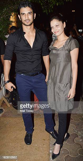 TV actors Ankita Lokhande and Sushant Singh Rajput during the birthday celebration of Sanjay Leela Bhansali in Mumbai on Sunday