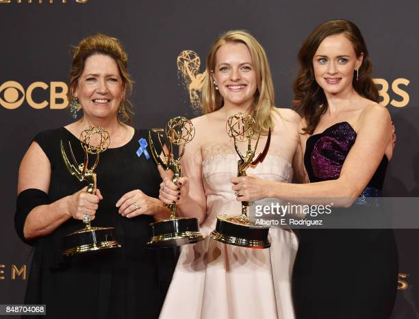 Actors Ann Dowd winner of Outstanding Supporting Actress in a Drama Series for 'The Handmaid's Tale' Elisabeth Moss winner of Outstanding Lead...