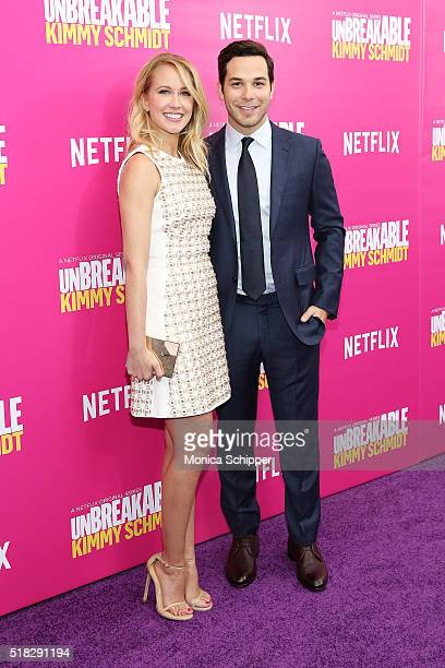 Actors Anna Camp and Skylar Astin attend the 'Unbreakable Kimmy Schmidt' season 2 world premiere at SVA Theatre on March 30 2016 in New York City