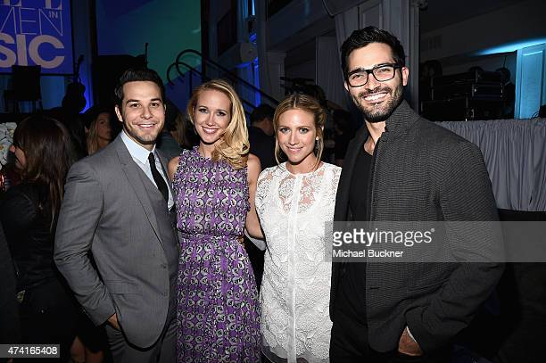 Actors Anna Camp Skylar Astin Brittany Snow and Tyler Hoechlin attend the 6th annual ELLE Women In Music celebration presented By eBay Hosted by...