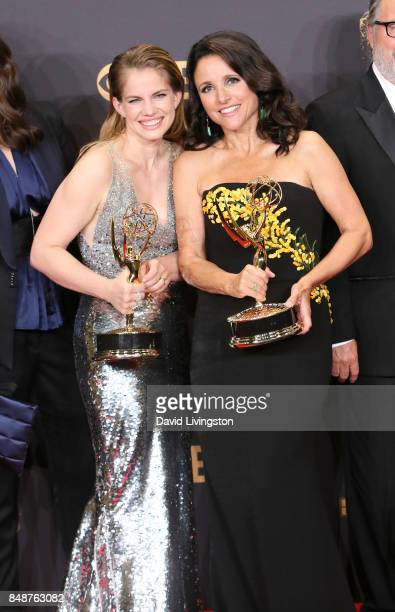 Actors Anna Chlumsky and Julia LouisDreyfus pose in the press room during the 69th Annual Primetime Emmy Awards at Microsoft Theater on September 17...