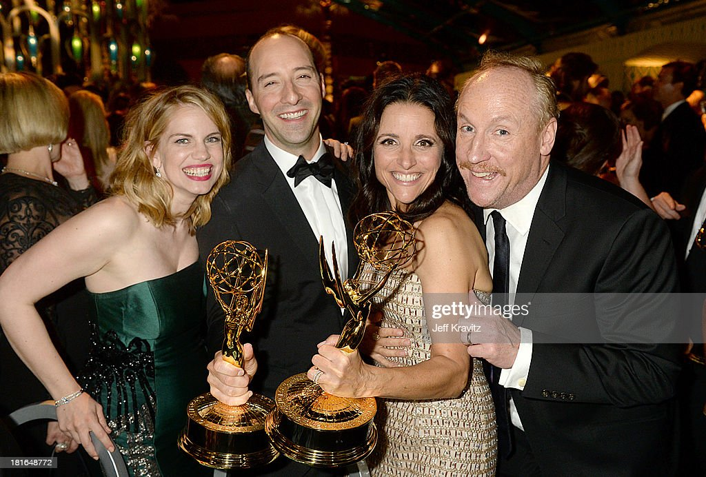 Actors Anna Chlumsky, Tony Hale, Julia Louis-Dreyfus, and Matt Walsh attend HBO's official Emmy after party in The Plaza at the Pacific Design Center on September 22, 2013 in Los Angeles, California.