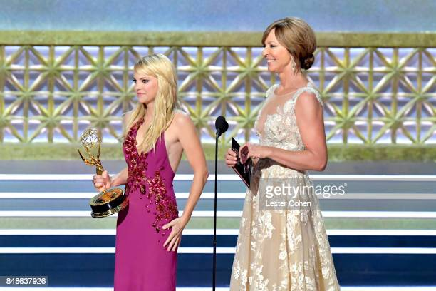 Actors Anna Faris and Allison Janney present an award onstage during the 69th Annual Primetime Emmy Awards at Microsoft Theater on September 17 2017...