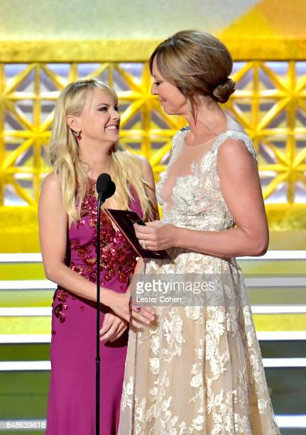 Actors Anna Faris and Allison Janney speak onstage during the 69th Annual Primetime Emmy Awards at Microsoft Theater on September 17 2017 in Los...