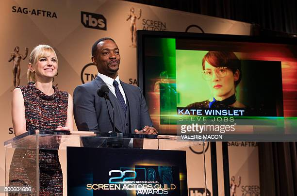 Actors Anna Faris and Anthony Mackie announce the Female Actress in a Supporting Role nominees for the 22nd Annual Screen Actors Guild Award...