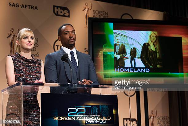Actors Anna Faris and Anthony Mackie announce the Outstanding Performance by an Ensemble in a Drama Series nominees for the 22nd Annual Screen Actors...