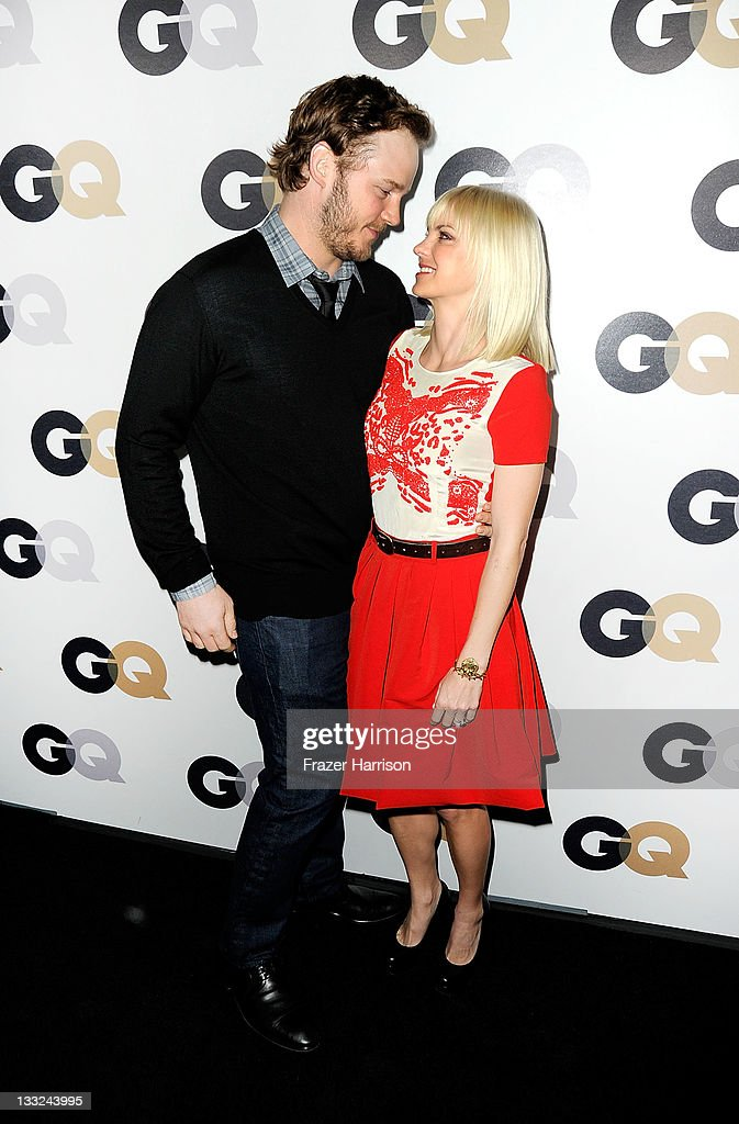 Actors <a gi-track='captionPersonalityLinkClicked' href=/galleries/search?phrase=Anna+Faris&family=editorial&specificpeople=213899 ng-click='$event.stopPropagation()'>Anna Faris</a> and <a gi-track='captionPersonalityLinkClicked' href=/galleries/search?phrase=Chris+Pratt+-+Actor&family=editorial&specificpeople=239084 ng-click='$event.stopPropagation()'>Chris Pratt</a> arrive at the 16th Annual GQ 'Men Of The Year' Party at Chateau Marmont on November 17, 2011 in Los Angeles, California.