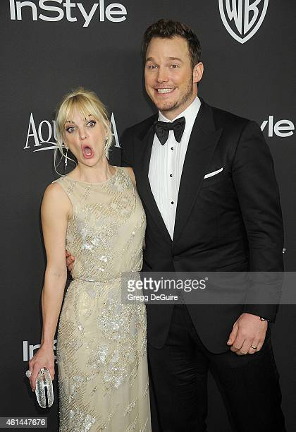 Actors Anna Faris and Chris Pratt arrive at the 16th Annual Warner Bros And InStyle PostGolden Globe Party at The Beverly Hilton Hotel on January 11...