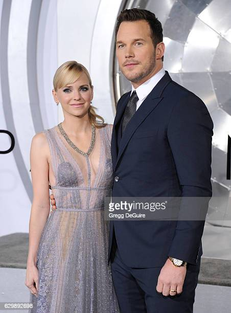 Actors Anna Faris and Chris Pratt arrive at the premiere of Columbia Pictures' 'Passengers' at Regency Village Theatre on December 14 2016 in...