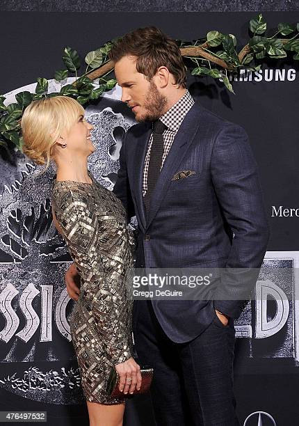 Actors Anna Faris and Chris Pratt arrive at the World Premiere of 'Jurassic World' at Dolby Theatre on June 9 2015 in Hollywood California