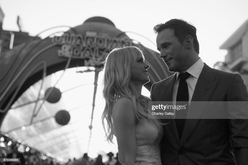 """Actors Anna Faris and Chris Pratt at The World Premiere of Marvel Studios' """"Guardians of the Galaxy Vol. 2."""" at Dolby Theatre in Hollywood, CA April 19th, 2017"""