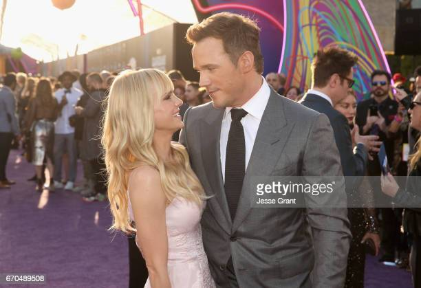 """Actors Anna Faris and Chris Pratt at The World Premiere of Marvel Studios' """"Guardians of the Galaxy Vol 2"""" at Dolby Theatre in Hollywood CA April..."""