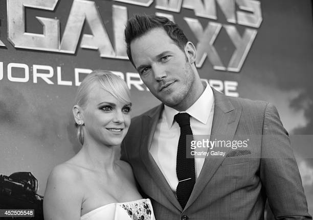 "Actors Anna Faris and Chris Pratt attend The World Premiere of Marvel's epic space adventure ""Guardians of the Galaxy"" directed by James Gunn and..."