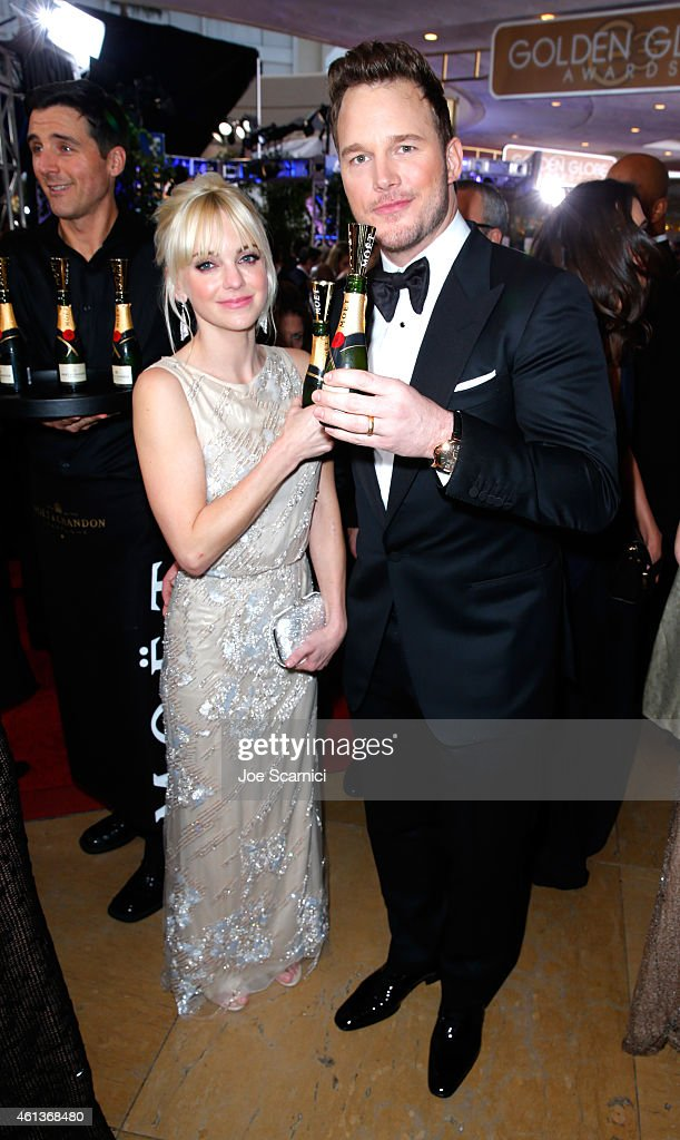 Actors Anna Faris and Chris Pratt attends the 72nd Annual Golden Globe Awards at The Beverly Hilton Hotel on January 11 2015 in Beverly Hills...