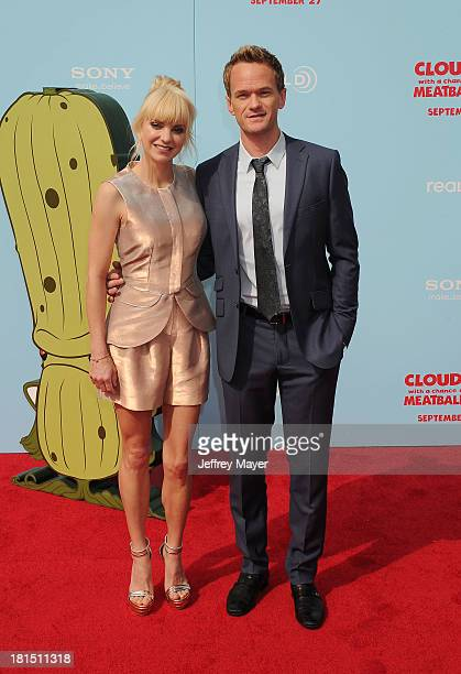 Actors Anna Faris and Neil Patrick Harris arrive at the Los Angeles premiere of 'Cloudy With A Chance Of Meatballs 2' at the Regency Village Theatre...
