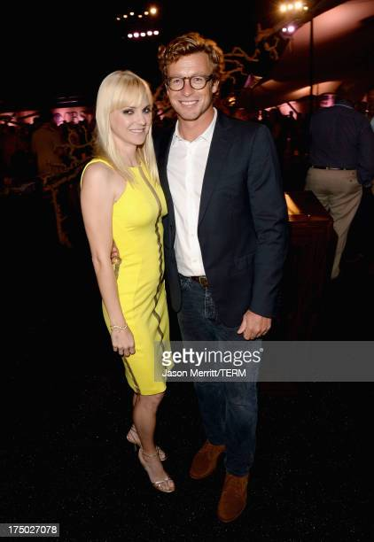 Actors Anna Faris and Simon Baker attend the CW CBS and Showtime 2013 summer TCA party on July 29 2013 in Los Angeles California