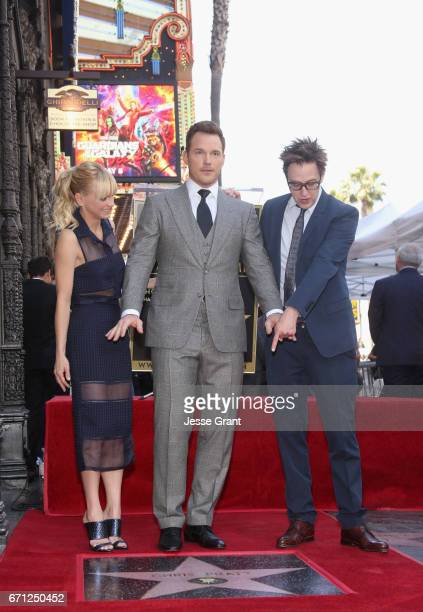 Actors Anna Faris Chris Pratt and Writer/director James Gunn at the Chris Pratt Walk Of Fame Star Ceremony on April 21 2017 in Hollywood California