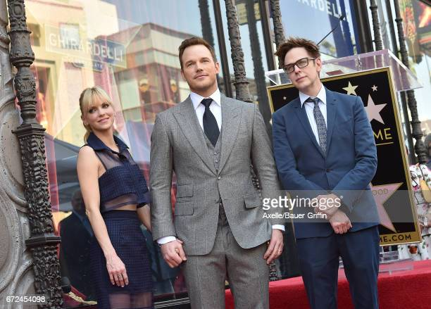 Actors Anna Faris Chris Pratt and writer/director James Gunn attend the ceremony honoring Chris Pratt with a star on the Hollywood Walk of Fame on...