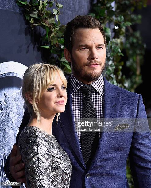 Actors Anna Faris Chris Pratt attend the Premiere Of Universal Pictures' 'Jurassic World' at Dolby Theatre on June 9 2015 in Hollywood California