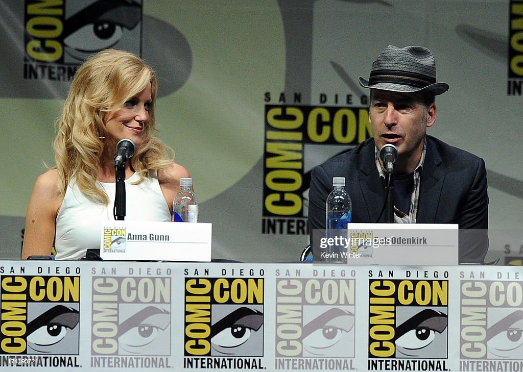 Actors Anna Gunn (L) and Bob Odenkirk speak onstage at the 'Breaking Bad' panel during Comic-Con International 2013 at San Diego Convention Center on July 21, 2013 in San Diego, California.
