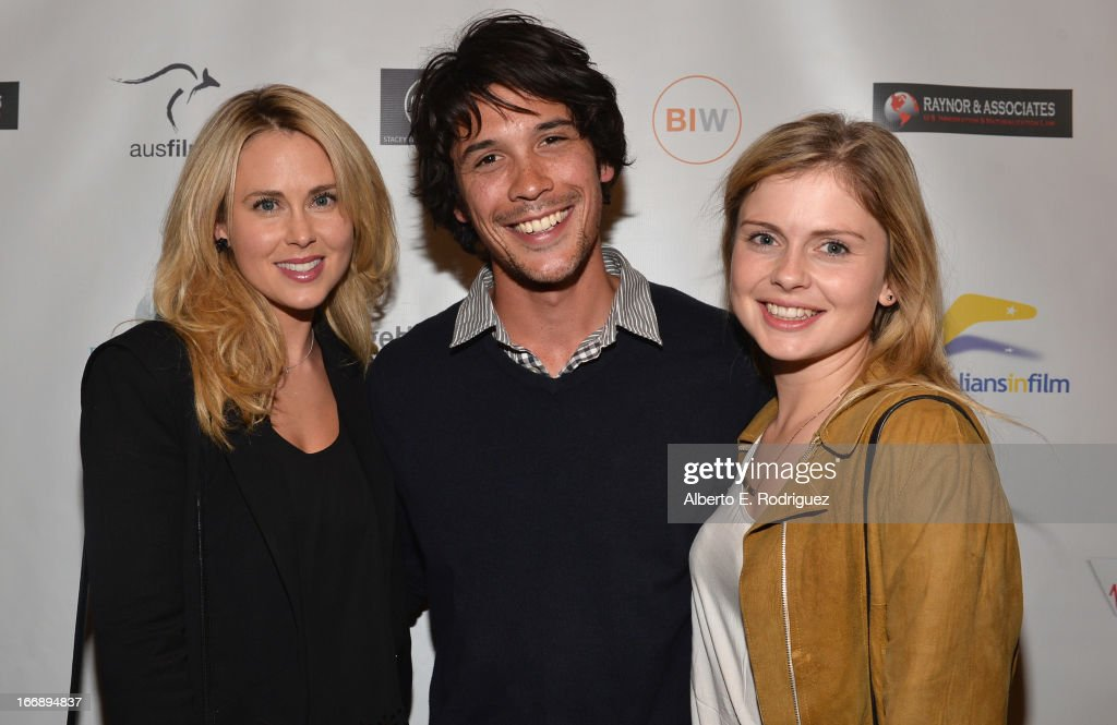 Actors <a gi-track='captionPersonalityLinkClicked' href=/galleries/search?phrase=Anna+Hutchison&family=editorial&specificpeople=7158896 ng-click='$event.stopPropagation()'>Anna Hutchison</a>, Bob Morley and <a gi-track='captionPersonalityLinkClicked' href=/galleries/search?phrase=Rose+McIver&family=editorial&specificpeople=6539142 ng-click='$event.stopPropagation()'>Rose McIver</a> attend Australians In Film's screening of Revival Film Company's 'Blinder' at Los Angeles Film School on April 17, 2013 in Los Angeles, California.
