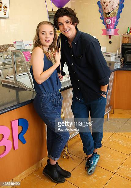 Actors Anna JacobyHeron and Jesse Henderson attend MTV's 'Finding Carter' fan event at BaskinRobbins on August 12 2014 in Burbank California