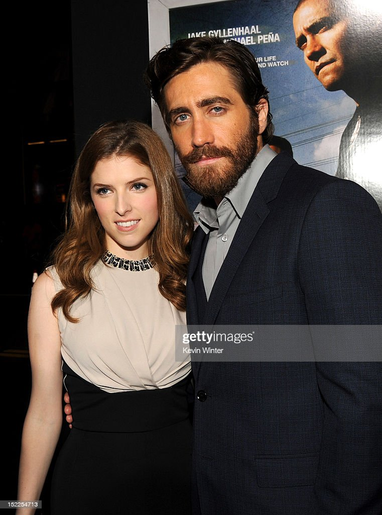 Actors <a gi-track='captionPersonalityLinkClicked' href=/galleries/search?phrase=Anna+Kendrick&family=editorial&specificpeople=3244893 ng-click='$event.stopPropagation()'>Anna Kendrick</a> and <a gi-track='captionPersonalityLinkClicked' href=/galleries/search?phrase=Jake+Gyllenhaal&family=editorial&specificpeople=201833 ng-click='$event.stopPropagation()'>Jake Gyllenhaal</a> arrive at the premiere of Open Road Films' 'End of Watch' at Regal Cinemas L.A. Live on September 17, 2012 in Los Angeles, California.