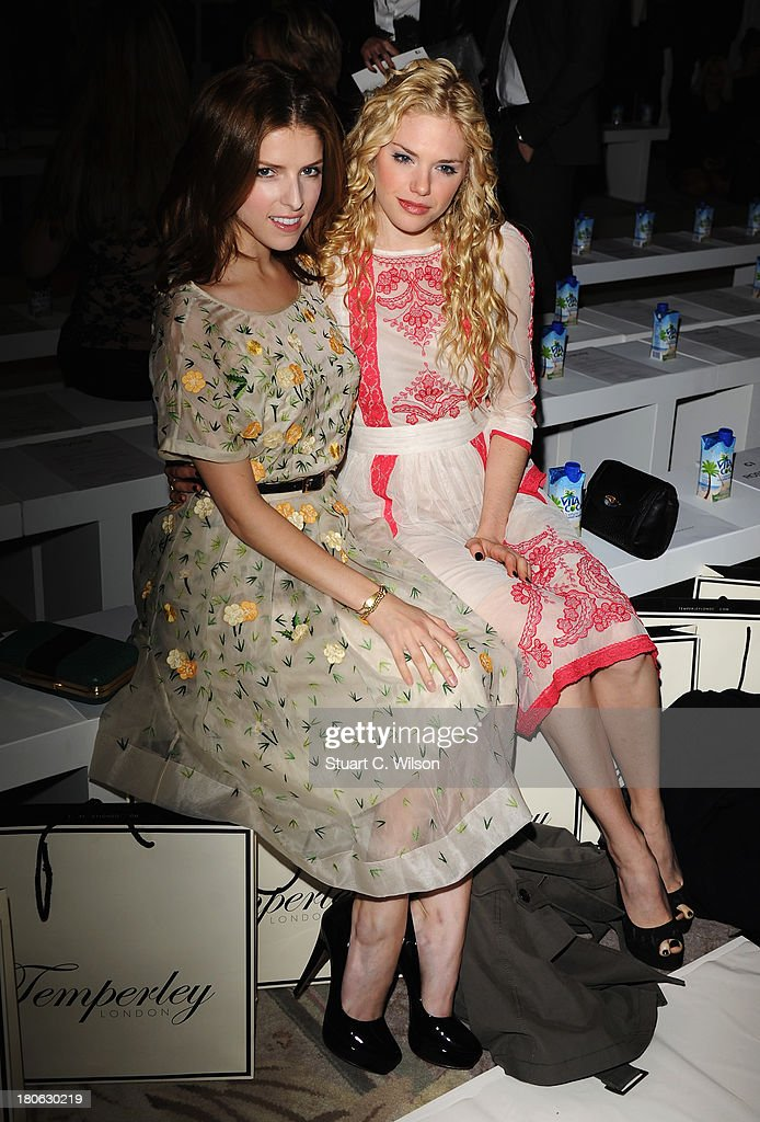Actors <a gi-track='captionPersonalityLinkClicked' href=/galleries/search?phrase=Anna+Kendrick&family=editorial&specificpeople=3244893 ng-click='$event.stopPropagation()'>Anna Kendrick</a> and MacKenzie Mauzy attend the Temperley London show during London Fashion Week SS14 at The Savoy Hotel on September 15, 2013 in London, England.