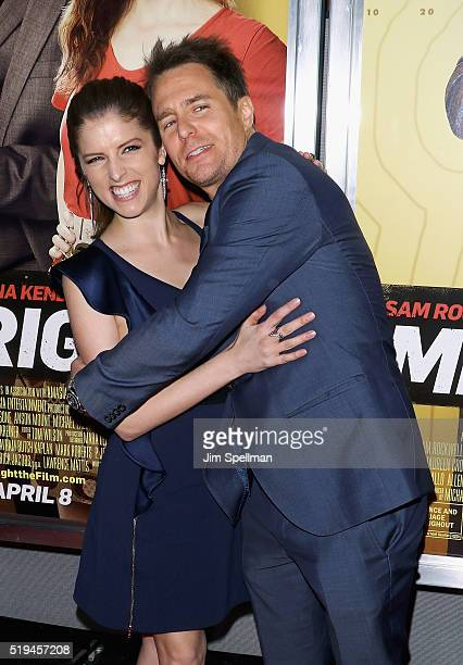 Actors Anna Kendrick and Sam Rockwell attend the 'Mr Right' New York premiere at AMC Lincoln Square Theater on April 6 2016 in New York City