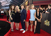 Actors Anna Kendrick Rebel Wilson Adam DeVine Brittany Snow Kelley Jakle and Chrissie Fit attend the 2016 MTV Movie Awards at Warner Bros Studios on...