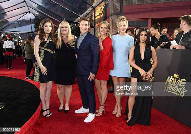 Actors Anna Kendrick Rebel Wilson Adam DeVine Brittany Snow Kelley Jakle and Chrissie Fit attend the 2016 MTV Movie Awards at Warner Bros Studios on...