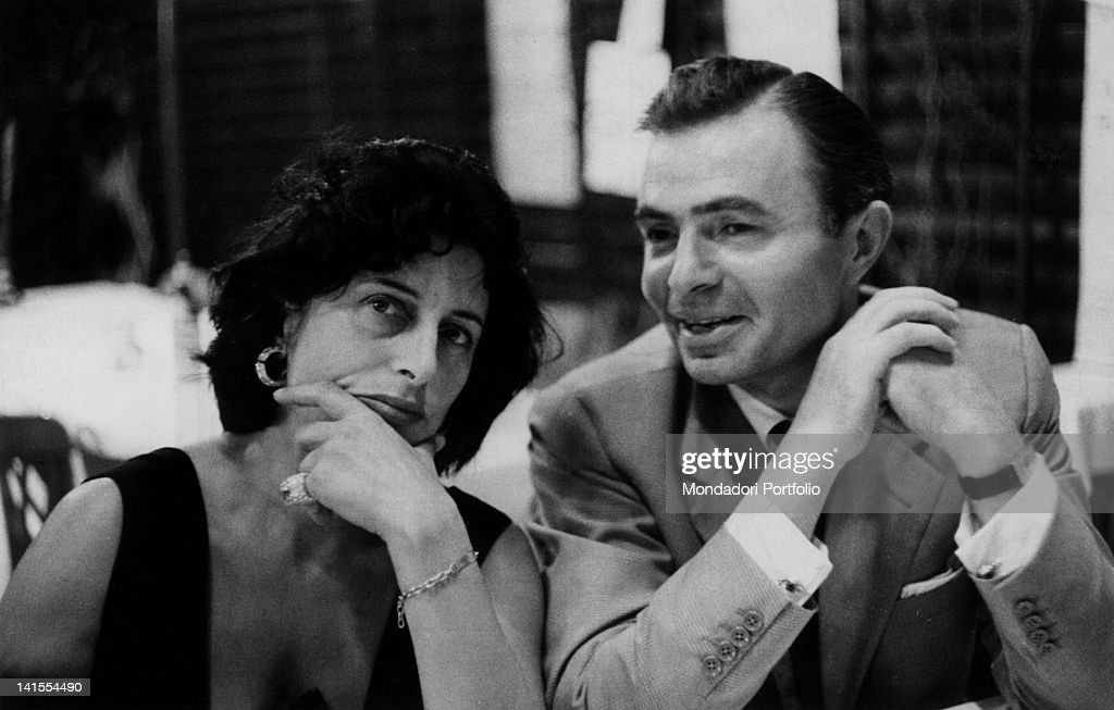 Actors Anna Magnani and James Mason having dinner in an inn during the 17th Venice International Film Festival Venice September 1956