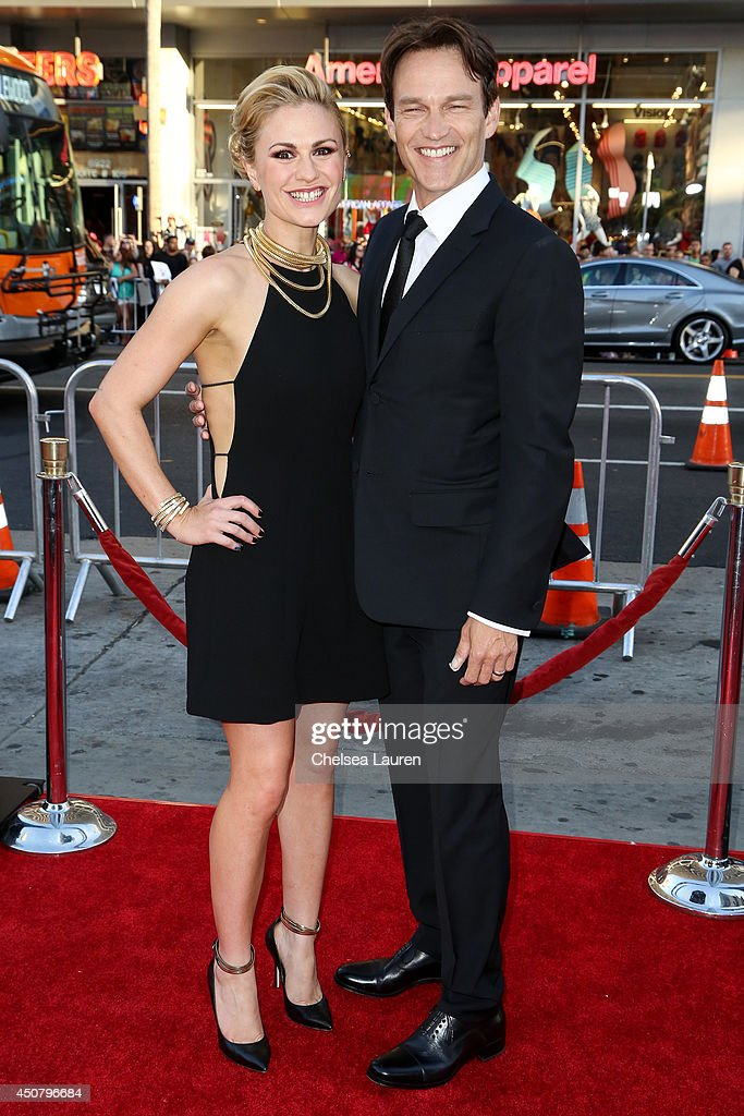 Actors Anna Paquin and Stephen Moyer arrive at HBO's 'True Blood' final season premiere at TCL Chinese Theatre on June 17 2014 in Hollywood California