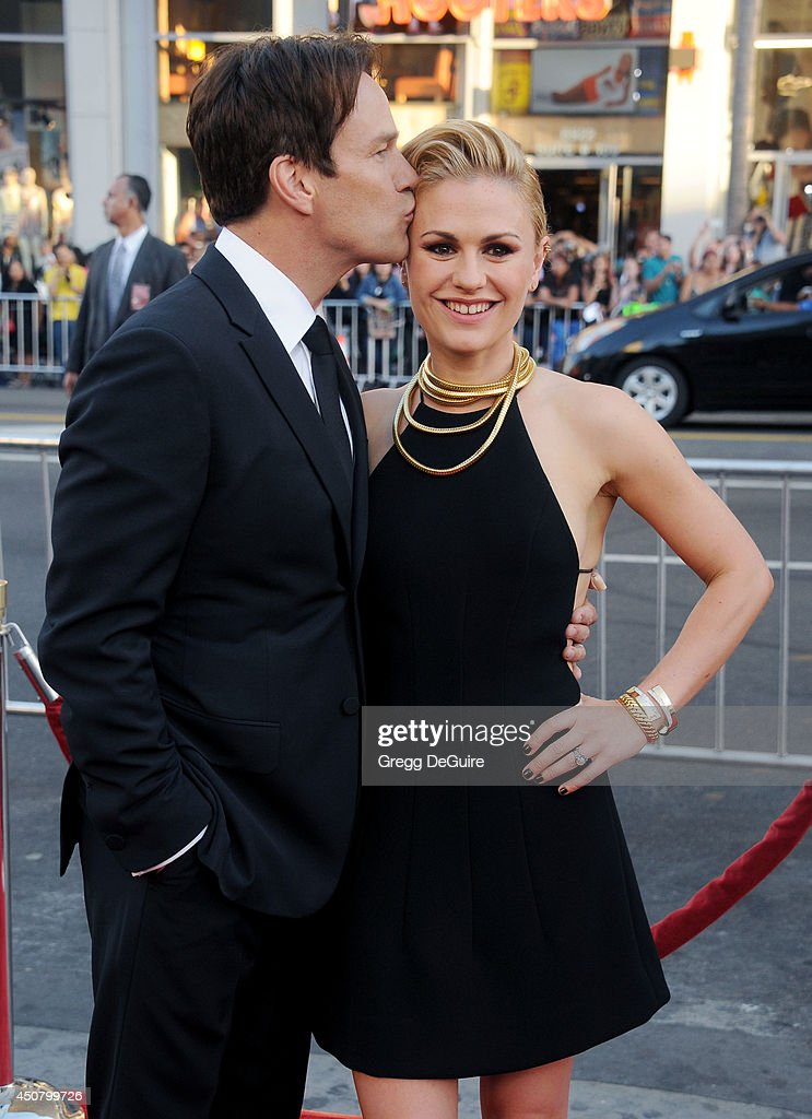 Actors <a gi-track='captionPersonalityLinkClicked' href=/galleries/search?phrase=Anna+Paquin&family=editorial&specificpeople=211602 ng-click='$event.stopPropagation()'>Anna Paquin</a> and <a gi-track='captionPersonalityLinkClicked' href=/galleries/search?phrase=Stephen+Moyer&family=editorial&specificpeople=4323688 ng-click='$event.stopPropagation()'>Stephen Moyer</a> arrive at HBO's 'True Blood' final season premiere at TCL Chinese Theatre on June 17, 2014 in Hollywood, California.