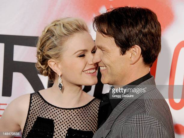 Actors Anna Paquin and Stephen Moyer arrive at HBO's 'True Blood' Season 5 Los Angeles premiere at ArcLight Cinemas Cinerama Dome on May 30 2012 in...