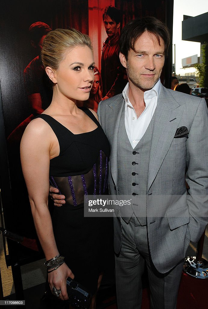 Actors <a gi-track='captionPersonalityLinkClicked' href=/galleries/search?phrase=Anna+Paquin&family=editorial&specificpeople=211602 ng-click='$event.stopPropagation()'>Anna Paquin</a> and <a gi-track='captionPersonalityLinkClicked' href=/galleries/search?phrase=Stephen+Moyer&family=editorial&specificpeople=4323688 ng-click='$event.stopPropagation()'>Stephen Moyer</a> arrive on the red carpet for HBO's 'True Blood' season 4 premiere at The Dome at Arclight Hollywood on June 21, 2011 in Hollywood, California.