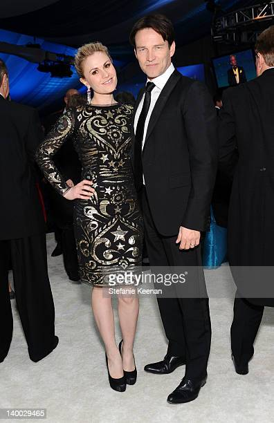 Actors Anna Paquin and Stephen Moyer attend Chopard at 20th Annual Elton John AIDS Foundation Academy Awards Viewing Party at The City of West...