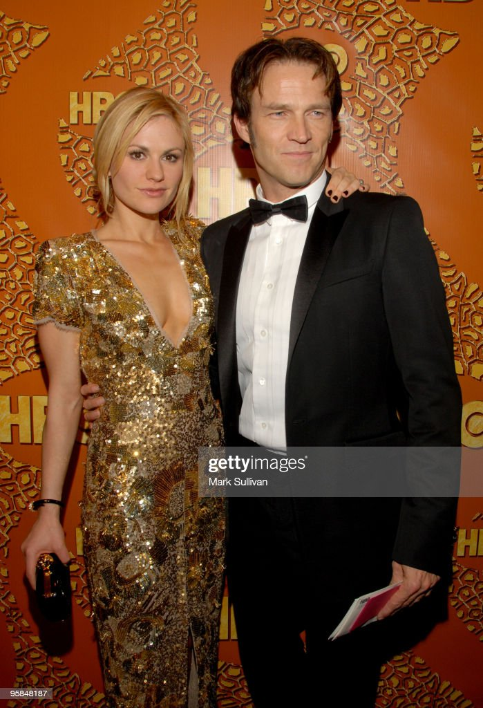 Actors Anna Paquin (L) and Stephen Moyer attend HBO's Post 67th Annual Golden Globes party at Circa 55 Restaurant on January 17, 2010 in Beverly Hills, California.