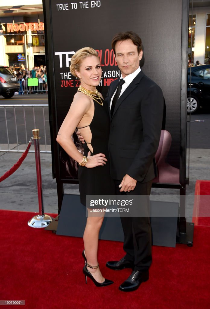 Actors <a gi-track='captionPersonalityLinkClicked' href=/galleries/search?phrase=Anna+Paquin&family=editorial&specificpeople=211602 ng-click='$event.stopPropagation()'>Anna Paquin</a> (L) and <a gi-track='captionPersonalityLinkClicked' href=/galleries/search?phrase=Stephen+Moyer&family=editorial&specificpeople=4323688 ng-click='$event.stopPropagation()'>Stephen Moyer</a> attend the premiere of HBO's 'True Blood' season 7 and final season at TCL Chinese Theatre on June 17, 2014 in Hollywood, California.