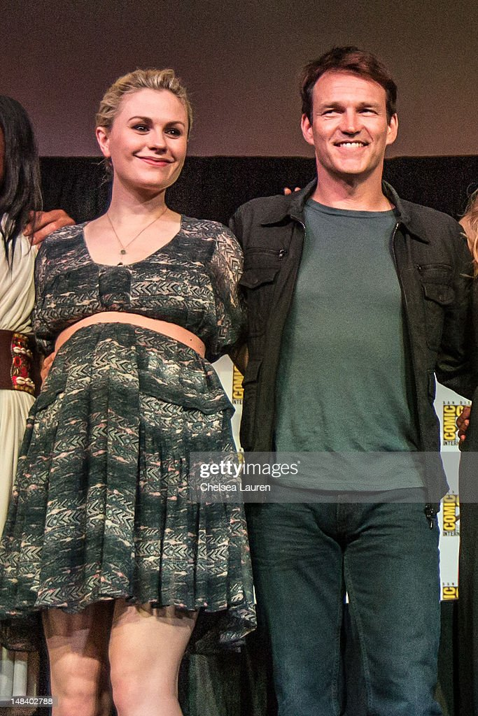 Actors <a gi-track='captionPersonalityLinkClicked' href=/galleries/search?phrase=Anna+Paquin&family=editorial&specificpeople=211602 ng-click='$event.stopPropagation()'>Anna Paquin</a> (L) and <a gi-track='captionPersonalityLinkClicked' href=/galleries/search?phrase=Stephen+Moyer&family=editorial&specificpeople=4323688 ng-click='$event.stopPropagation()'>Stephen Moyer</a> attend the 'True Blood' panel at San Diego Convention Center on July 14, 2012 in San Diego, California.