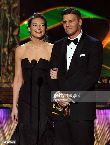 Actors Anna Torv and David Boreanaz speak onstage during the 63rd Annual Primetime Emmy Awards held at Nokia Theatre LA LIVE on September 18 2011 in...