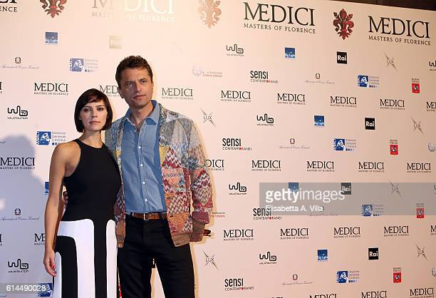 Actors Annabel Scholey and Guido Caprino attend a photocall for 'I Medici' at Palazzo Vecchio on October 14 2016 in Florence Italy