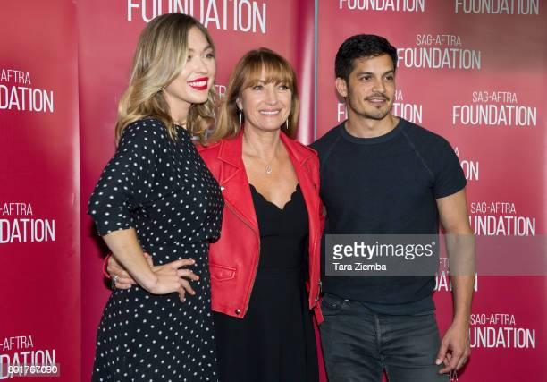 Actors Annabelle Stephenson Jane Seymour and Nicholas Gonzalez attend SAGAFTRA Foundation Conversations Screening Of 'Pray For Rain' at SAGAFTRA...